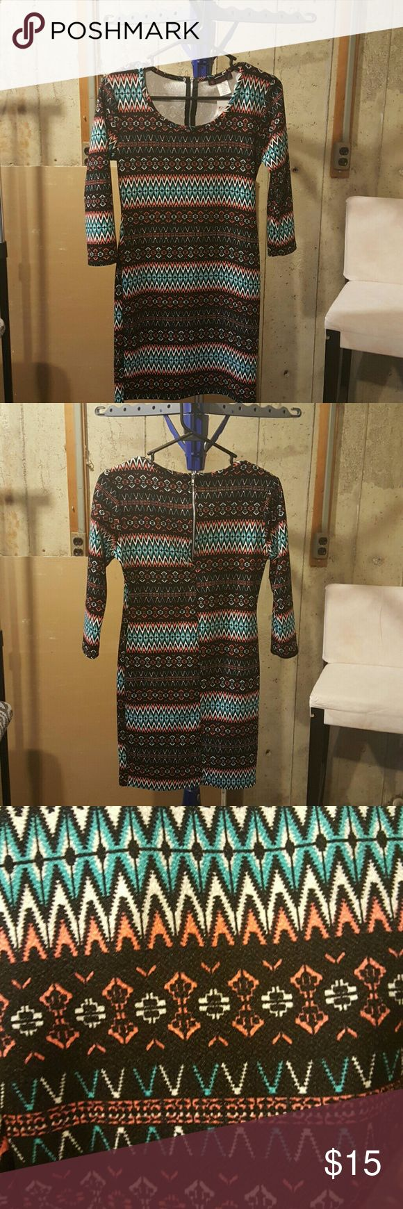 Aztec print dress. Never been worn. Stylish dress ready for a night out Dresses Midi