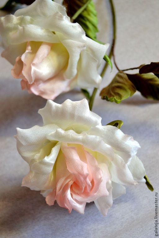 Купить Цветы из шелка Роза Пьерр - разноцветный, роза, роза ручной работы, интерьерный букет