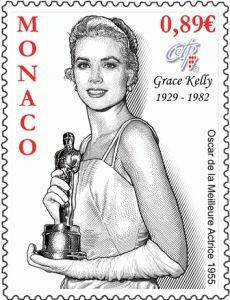 OSCAR WEEK 2014: Its Oscar week in Hollywood and today we celebrate the career of MISS GRACE KELLY, winner of the best actress award in 1954 for her performance in 'The Country Girl'. This stamp issued by Monaco to celebrate what would have been HSH eightieth birthday. She is seen here wearing the mint green satin dress designed for her by her great friend Mrs. Edith Head.: