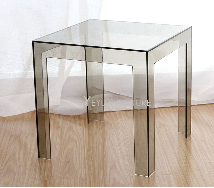 Side Table: Minimalist Modern Design Transparent Polycarbonate Pc Acrylic  Clear Square Side Table Coffee Table