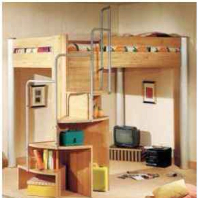 Loft Bed Spiral Stairs Shelves