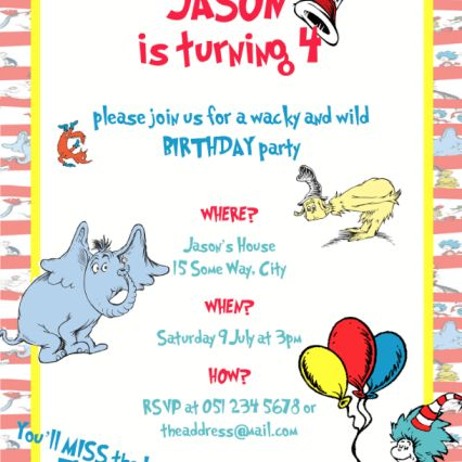 Dr. Seuss themed kids birthday party invitation