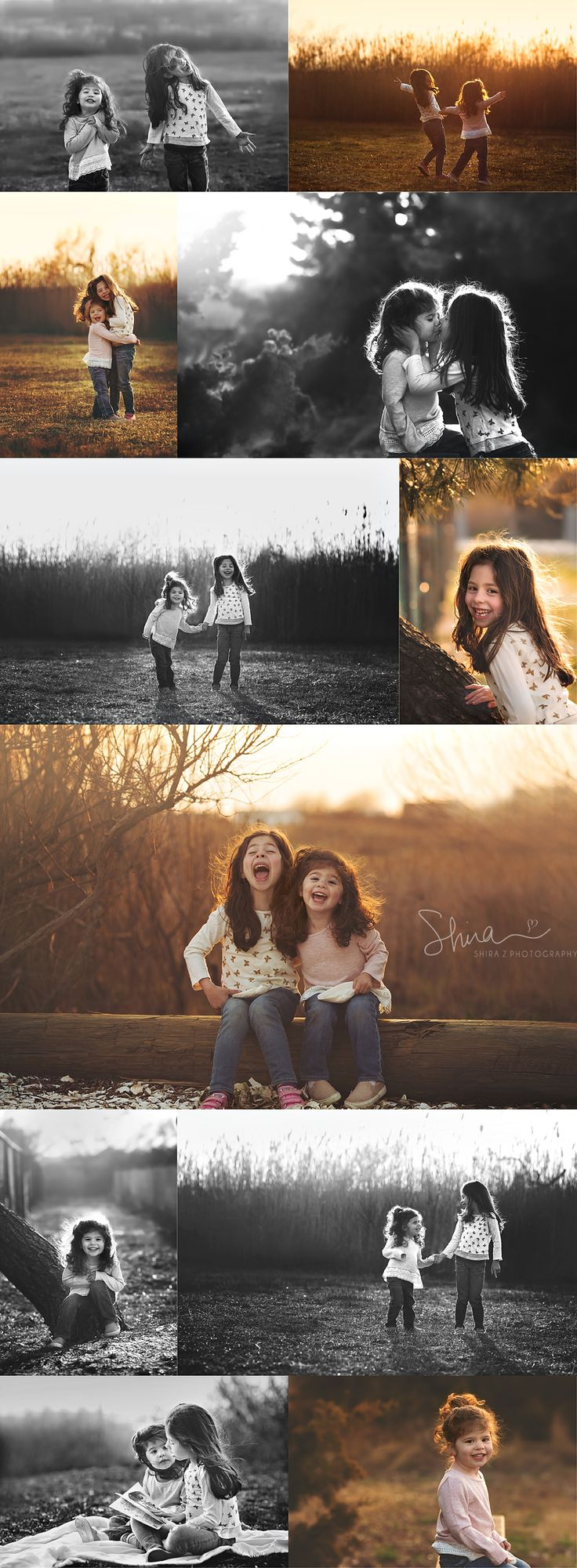 sisters smiling outdoors in Long Beach, NY for a Long Island family photographer