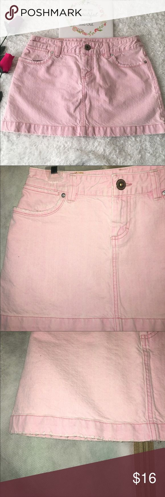 American Eagle pink denim skirt In great condition has pockets in the front and back for measurement pls look at pictures American Eagle Outfitters Skirts Mini