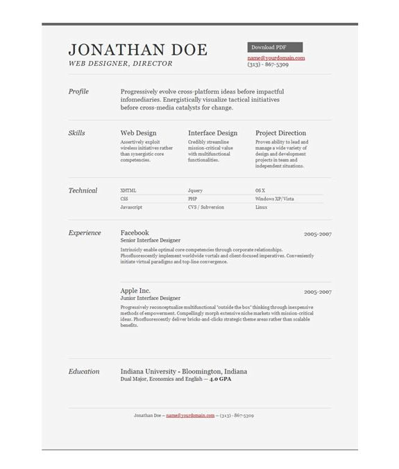 Having an online resume is essential if your work is online, now you can with these one page resume templates. Depending on the type of audience you want to attract, an online resume is the best way to grab their attention. PSD Online resumes are an excellent choice especially for people with an online portfolio – if you have a combination of the two, you'll look very professional.
