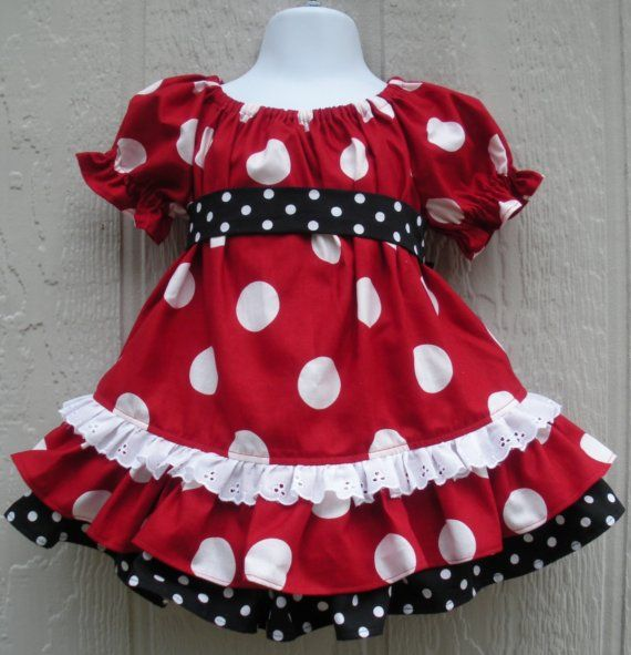 Minnie Red Dot OOP Costume Mickey Peasant Toddler size 12/18 month