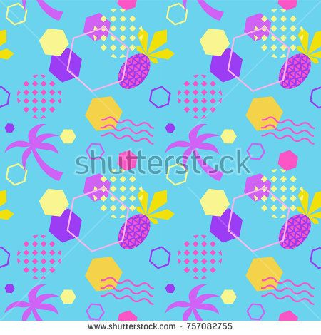 Seamless color summer pattern with pineapple and palm, trendy geometric memphis style vector background, bright fashion wallpaper