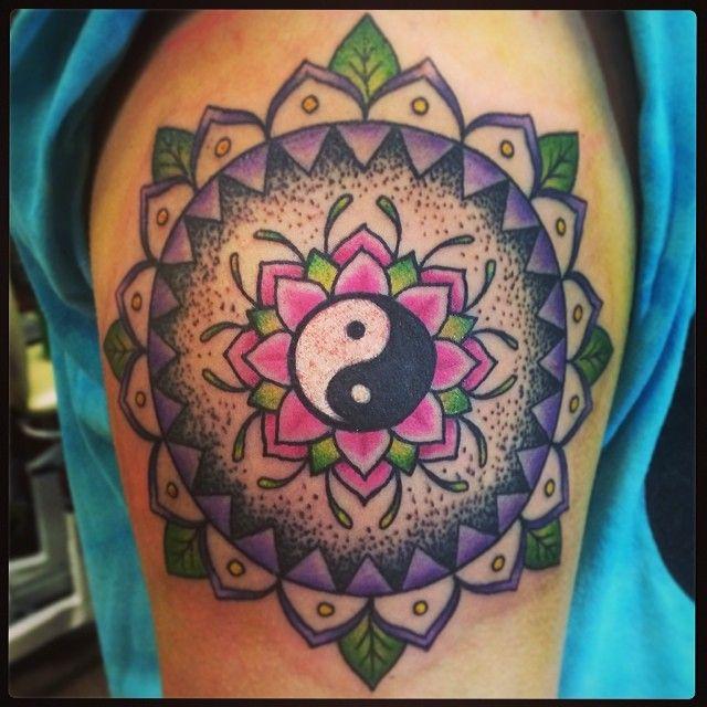 Mandala yin yang tattoo by Red, Middlesbrough, UK www.redivytattoos.co.uk