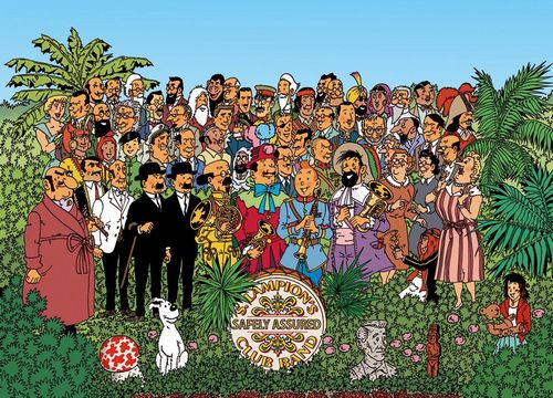 Superb drawing signed Harry Edwood - a portrait of family Tintin with homage to the Beatles' Sgt Pepper's album
