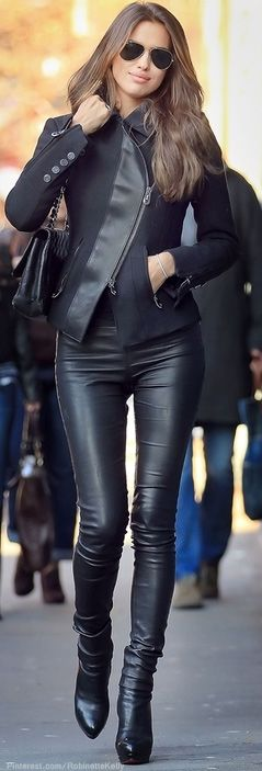 Street Style / Leather Jeans