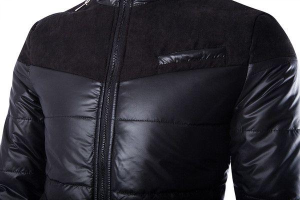 Spring Men Cotton Blend Black Patchwork Thin Warm Zipper Down Jacket Outwear Coat