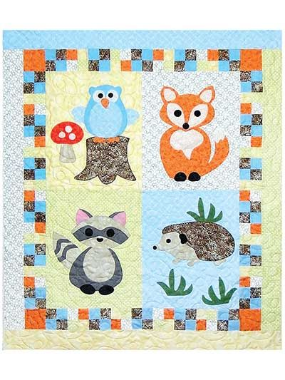 """Darling applique creatures for your little one!   Easy piecing and large fusible shapes of an owl, fox, raccoon and hedgehog make up an ideal quilt for any newborn. A great size for a wall hanging, play mat or even a receiving blanket. Finished quilt size is 39"""" x 45""""."""