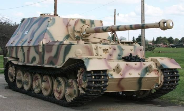 """The Elefant (German for """"elephant"""") was a Schwerer Panzerjäger (""""heavy tank destroyer"""") of the German Wehrmacht used in small numbers in World War II. It was built in 1943 under the name Ferdinand, after its designer Ferdinand Porsche. In 1944, after modification of the existing vehicles, they were renamed Elefant. The official German designation was Panzerjäger Tiger (P) and the ordnance inventory designation was Sd. Kfz. 184."""
