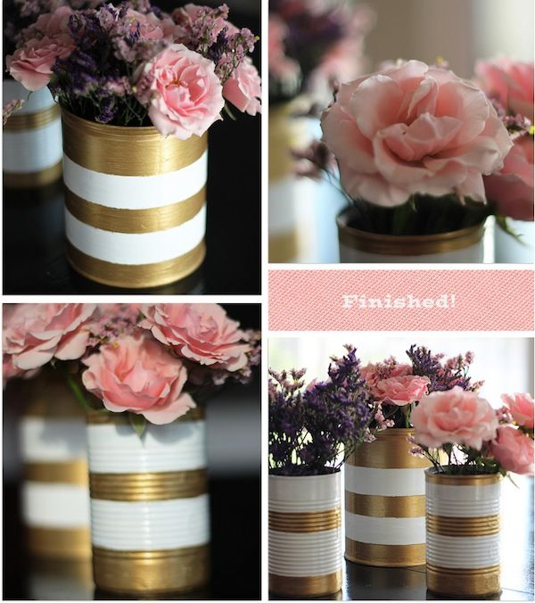 I would love this in old gold and pink! DIY gold white painted vases - great for a low budget event! More