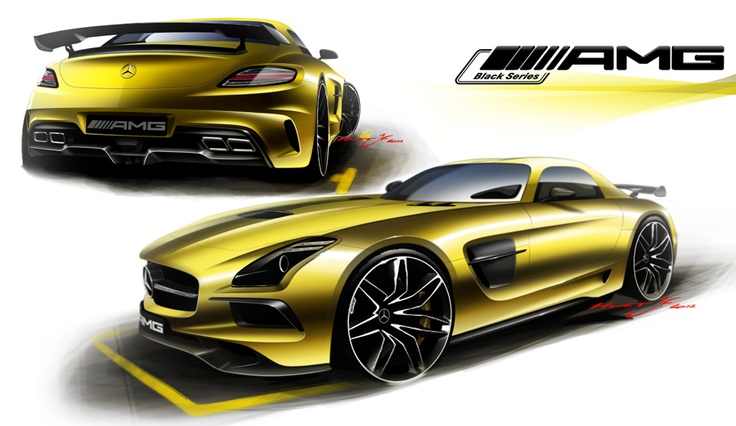 At the beginning of the design phase, each designer creates sketches of the basis of the series car (SLS AMG).