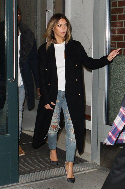 Kim Kardashian wearing Saint Laurent Distressed jeans with chain detail CELINE Pre-Fall 2013 coat