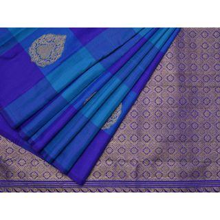 Blue Kanchipuram Silk Handloom Saree with Checks and Buta Design k0223 6