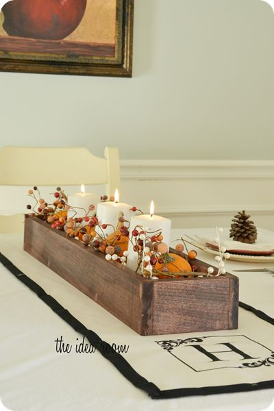 wooden box centerpiece w/flowers and candles
