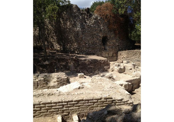 The remains of a well-appointed villa continue to yield evidence of its residents' wealth. The nine-meter walls held statue nooks and ornate wall mosaics; thousands of dirt-encrusted tesserae were found this year. Milky blue marble lined the floors and an extensive water system channeled freshwater throughout. The small graves likely once held children. (Image: Steven Bartoo)