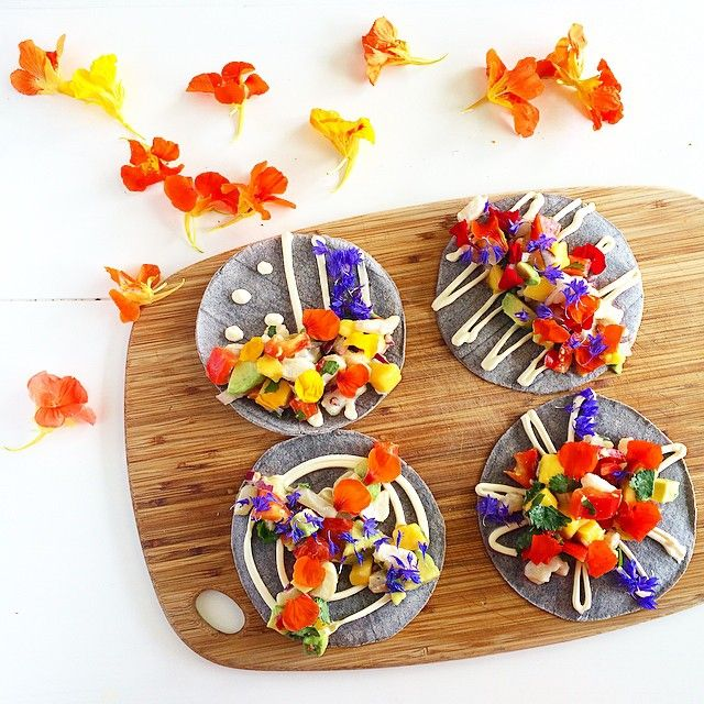 This week's featured #MyHippieKitchen recipe is Street Art Ceviche on blue corn tortilla walls, with creme fraiche paint, and a mix of @petiteingredient cornflowers and spicy nasturtiums. For the recipe and episode, you can find the link in my bio💃