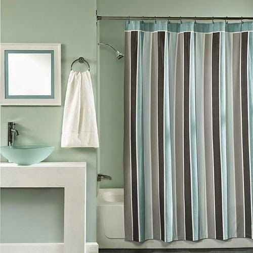 Curtain Ideas: Wallace Blue And Brown Striped Fabric Shower Curta.