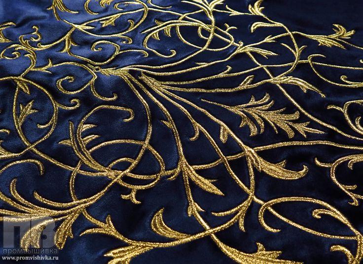 Бархатная ткань с вышивкой золотыми нитками