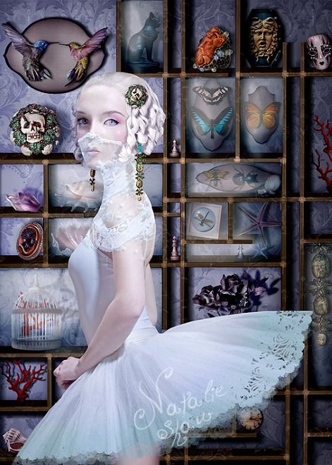 Natalie Shau, blonde, curls, apothecary cabinet, butterflies, faces, skulls, insects, starfish, birds