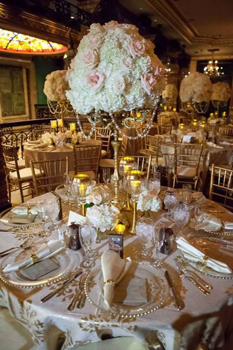 pearl wedding decor centerpieces white hydrangeas blush pink roses ivory 6423