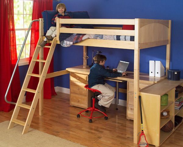 boys room ideas with wood bedroom furniture featuring high loft bed and workstation - Boys Desk Ideas