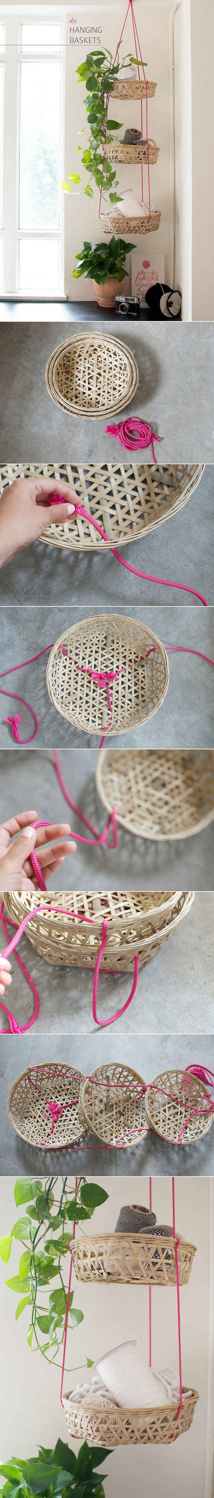 DIY - HANGING BASKETS ( CLICK THROUGH FOR TUTORIAL ) >> YOU WILL NEED : 3 BAMBOO BASKETS, IT'S BEST IF THEY ARE TIERED IN SIZE (I.E. FIT INSIDE EACH OTHER LIKE RUSSIAN DOLLS) , ROPE (I WENT WITH DARK PINK ROPE TO ADD A BIT OF COLOUR TO THE DESIGN.)