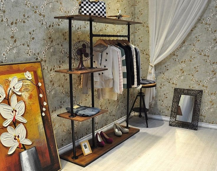 Smart Interior Design With White Wallpaper Idea And Vintage Wardrobe Storage Iron Pirpe Furniture For