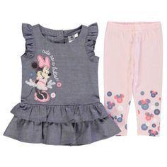 Disney Minnie Mouse 2 Piezas Vestido Conjunto Infante Bebé Niñas Conjunto de Ropa Gris/Rosa