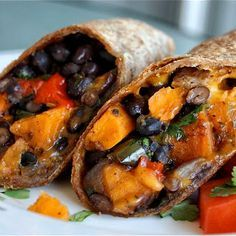 Roasted Veggie and Black Bean Burritos. Leave the cheese out, and use large Ezekiel tortillas, sprouted and organic.
