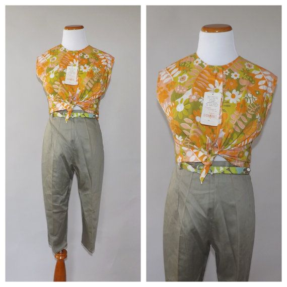 NOS Vintage 1960s Surfer Set Printed Cotton 2 Piece Outfit NWT 60s Blouse Pants Summer Jumper Mod 50s Playsuit Rockabilly Beach Party Outfit