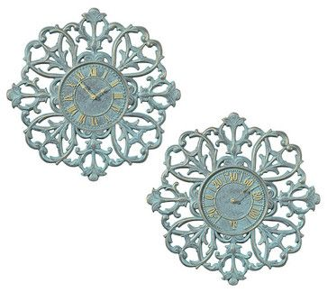 Medallion Outdoor Outdoor Clock and Thermometer Set - traditional - outdoor decor - FRONTGATE