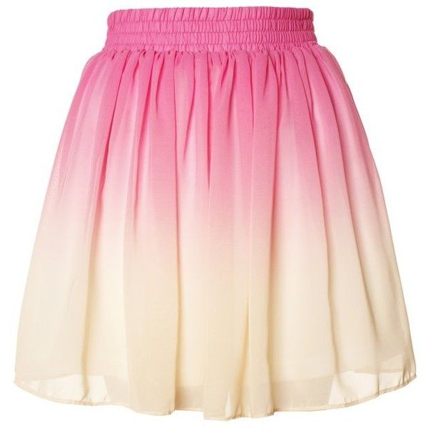 Yellow Pink Dip Dye Ombre Chiffon Ruffle Skirt ($29) ❤ liked on Polyvore featuring skirts, bottoms, saias, pink, chiffon skirt, frill skirt, pink chiffon skirt, yellow ruffle skirt and summer skirts