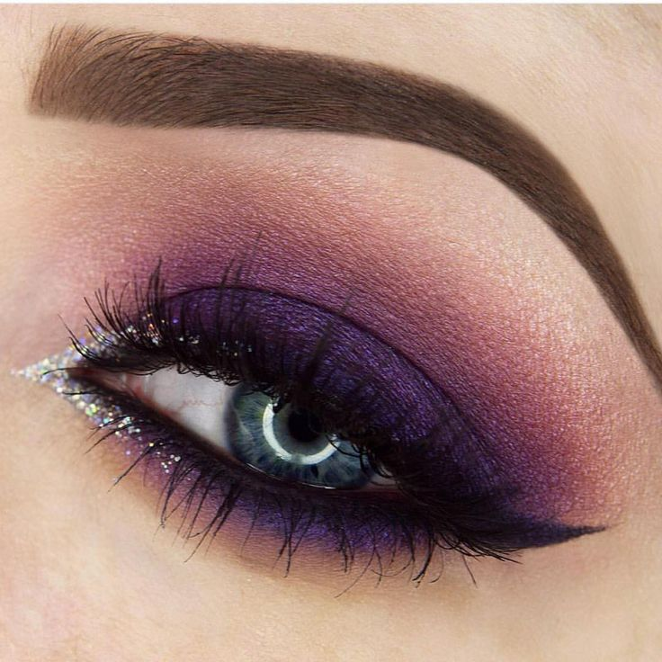 Gorgeous Purple Smokey Eye Paired With Winged Liner and Irridescent Glitter