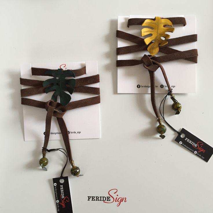 leather leaf choker necklace