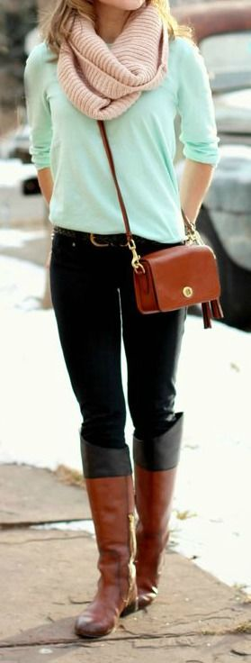 Mint Green Sweater + tan and white scarf or plaid scarf +black leggings and brown boots and purse