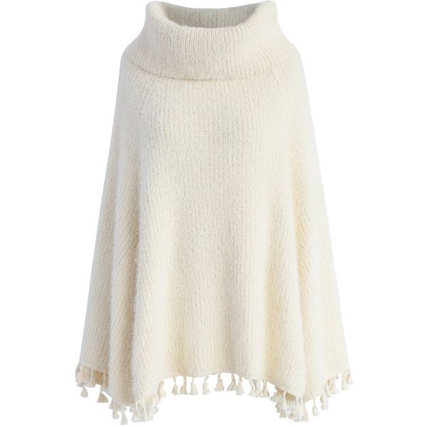 Chicwish Winter Tale Knitted Cape in Ivory ($62) ❤ liked on Polyvore featuring outerwear, cape, white, white cape coat, cape coat, ivory turtleneck, turtleneck tops and white turtleneck top