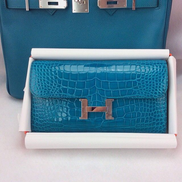 Hermes Constance Wallet (Alligator) in Bleu Izmir w/PHW ...