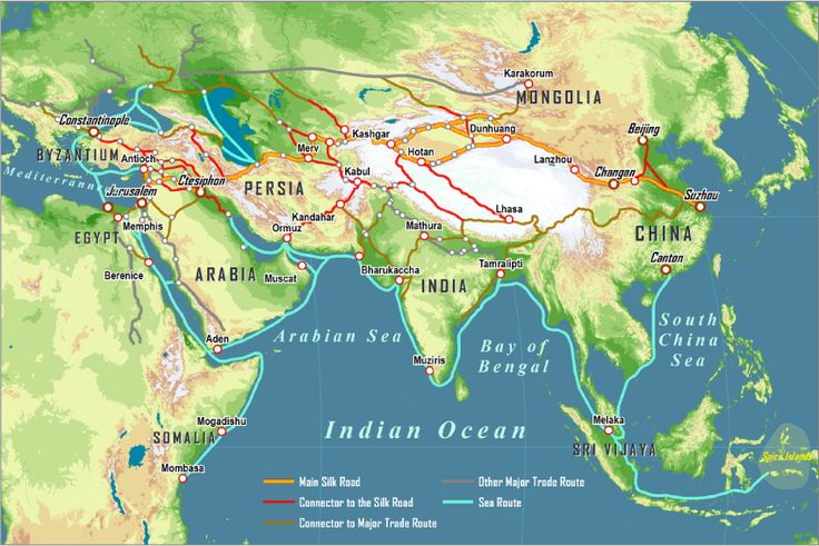 detailed pdf map the silk road and arab sea routes the silk road was