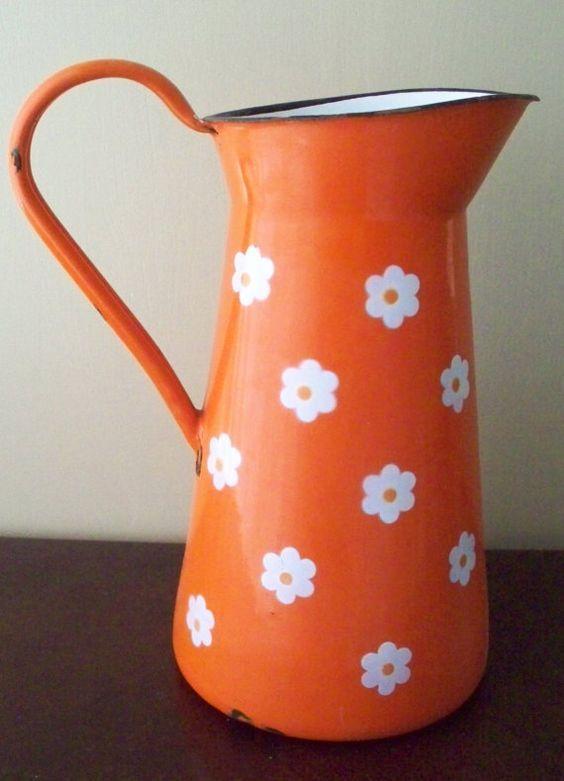 Vintage Enamelware Pitcher Orange With White Daisies Made in Yugoslavia