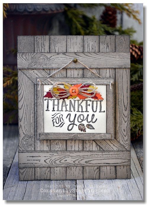 handmade barn door Thanksgiving card ... luv the look of weathered wood using the Hardwood stamp set ... Stampin' Up!
