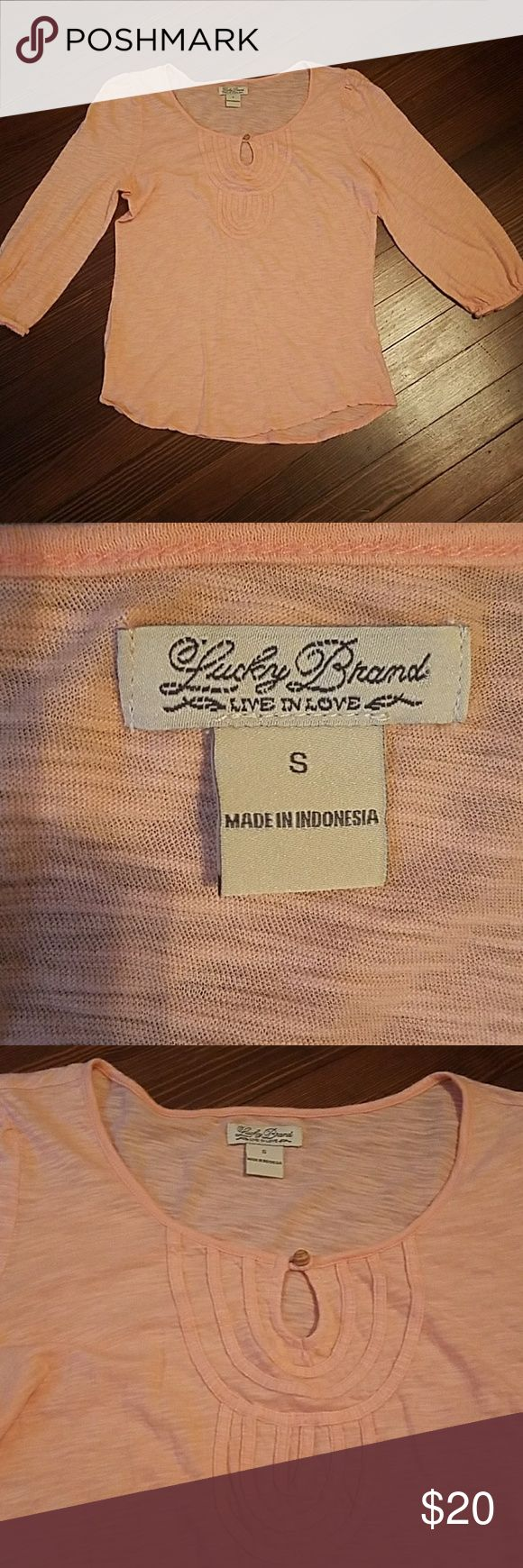 Lucky Brand Top Sherbert orange color. Some rolling at the cuffs. 3/4 sleeve Lucky Brand Tops