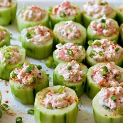 Cucumber cups stuffed with a spicy crab filling.