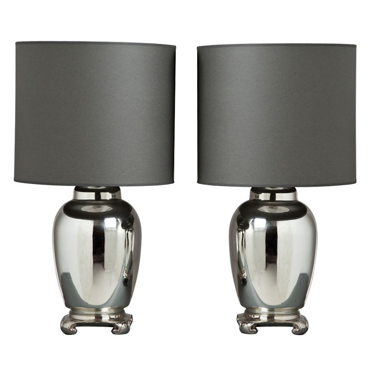 A Pair of Moulded Mercury Glass Asian Modern Lamps 1960s