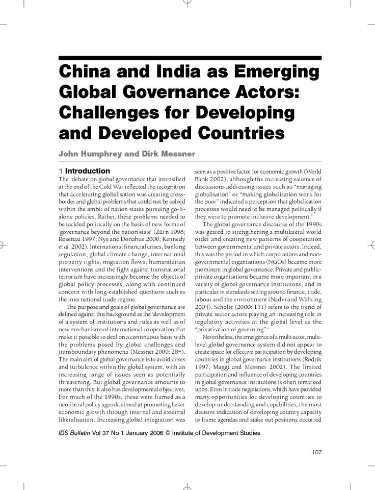 First page of China and India as Emerging Global Governance Actors: Challenges for Developing and Developed Countries