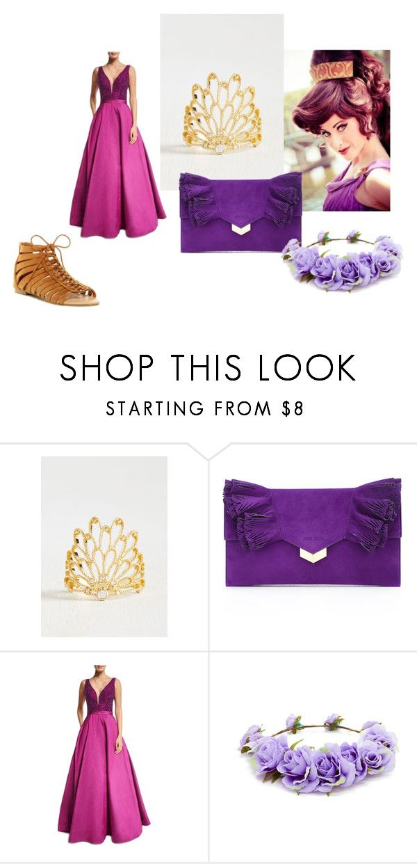 """Megara Maxi Dress"" by mandalinaqitrydewi on Polyvore featuring Jimmy Choo, Jovani, Forever 21 and ANNA"