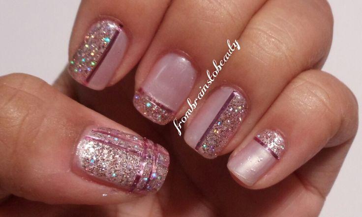 ... : Pink & Glitter Striping Tape Nail Design + July JulepMaven Review